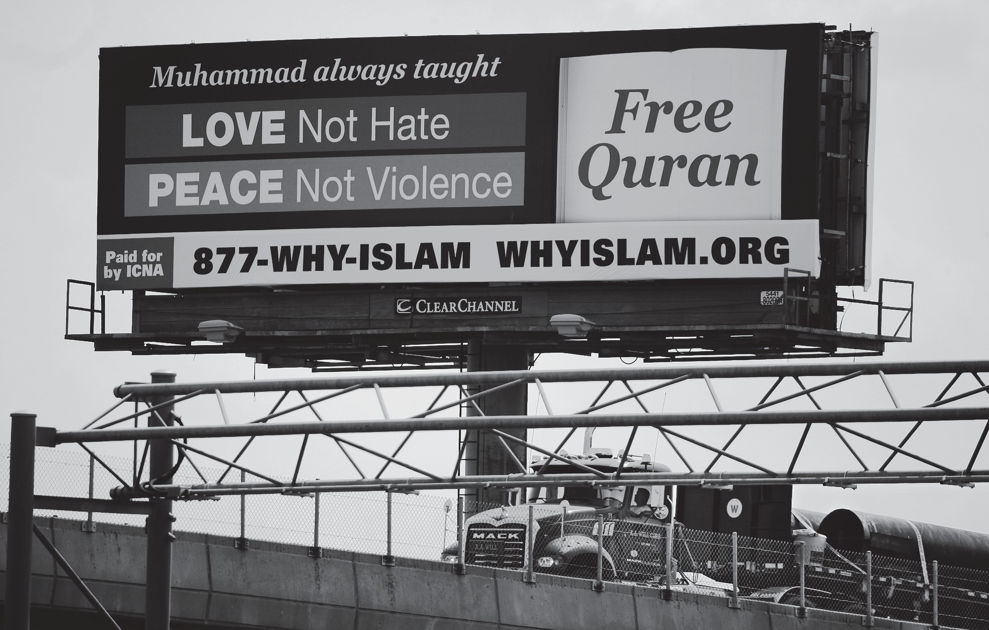 On Aug. 21, a billboard proclaims the teachings of Islam near the Massachusetts Avenue Exit of I-93 north in Boston.