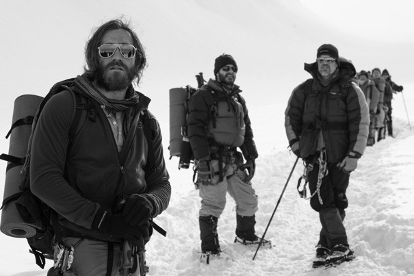 "This photo provided by Universal Pictures shows Jake Gyllenhaal, from left, as Scott Fischer, Michael Kelly as Jon Krakauer and Josh Brolin as Beck Weathers in the film ""Everest."""