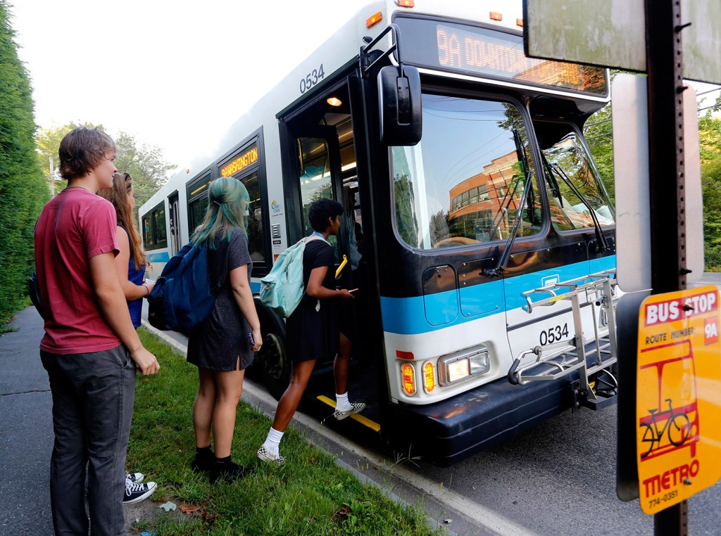 Casco Bay High School students board a Metro bus on Sept. 2, the first day of school in Portland. Metro officials are keeping an eye on which buses are filling up quickly so they can deploy extra buses where they're needed. Derek Davis/Staff Photographer