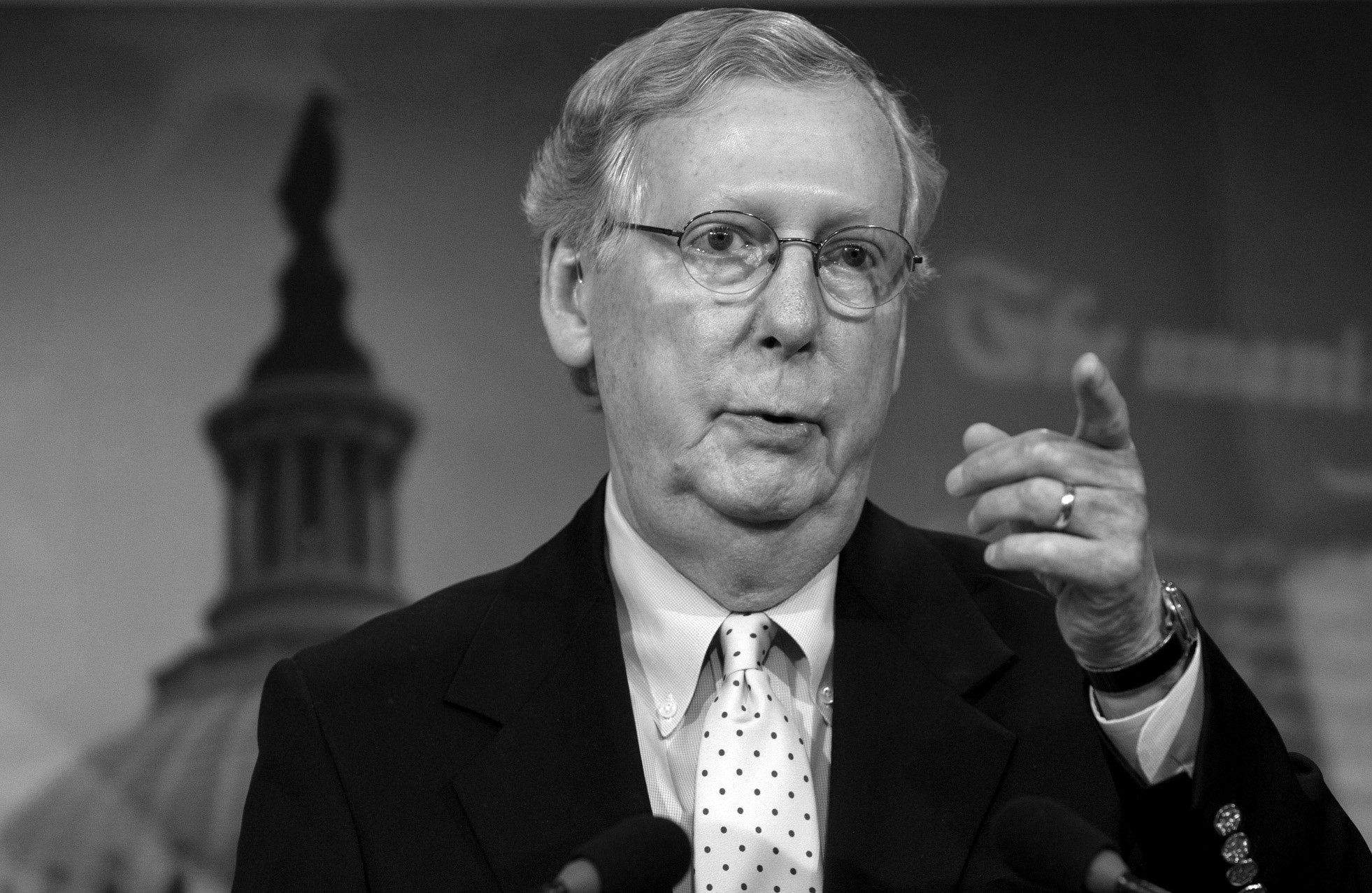 In this photo taken Aug. 6, Senate Majority Leader Mitch McConnell, R-Ky. speaks during a news conference on Capitol Hill in Washington. Senate Republicans want a say on the Iran nuclear deal but Democrats plan to block them.