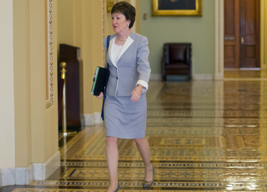 """Sen. Susan Collins, R-Maine, walks to the Senate floor Tuesday. She said that she'll oppose the Iran nuclear deal, calling it """"fundamentally flawed."""" Collins was considered the one Senate Republican the Obama administration could potentially convince to support the agreement. The Associated Press"""