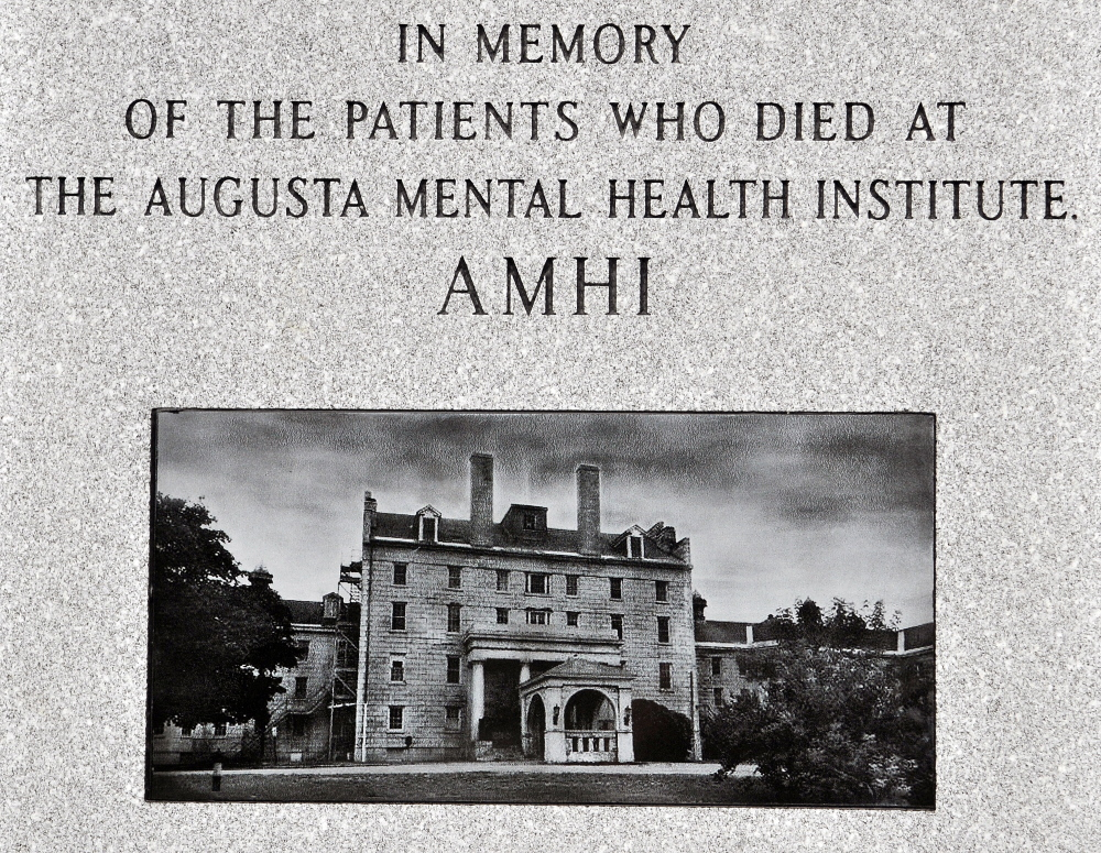 A close-up of the monument that honors the people who died at the Augusta Mental Health Institute.