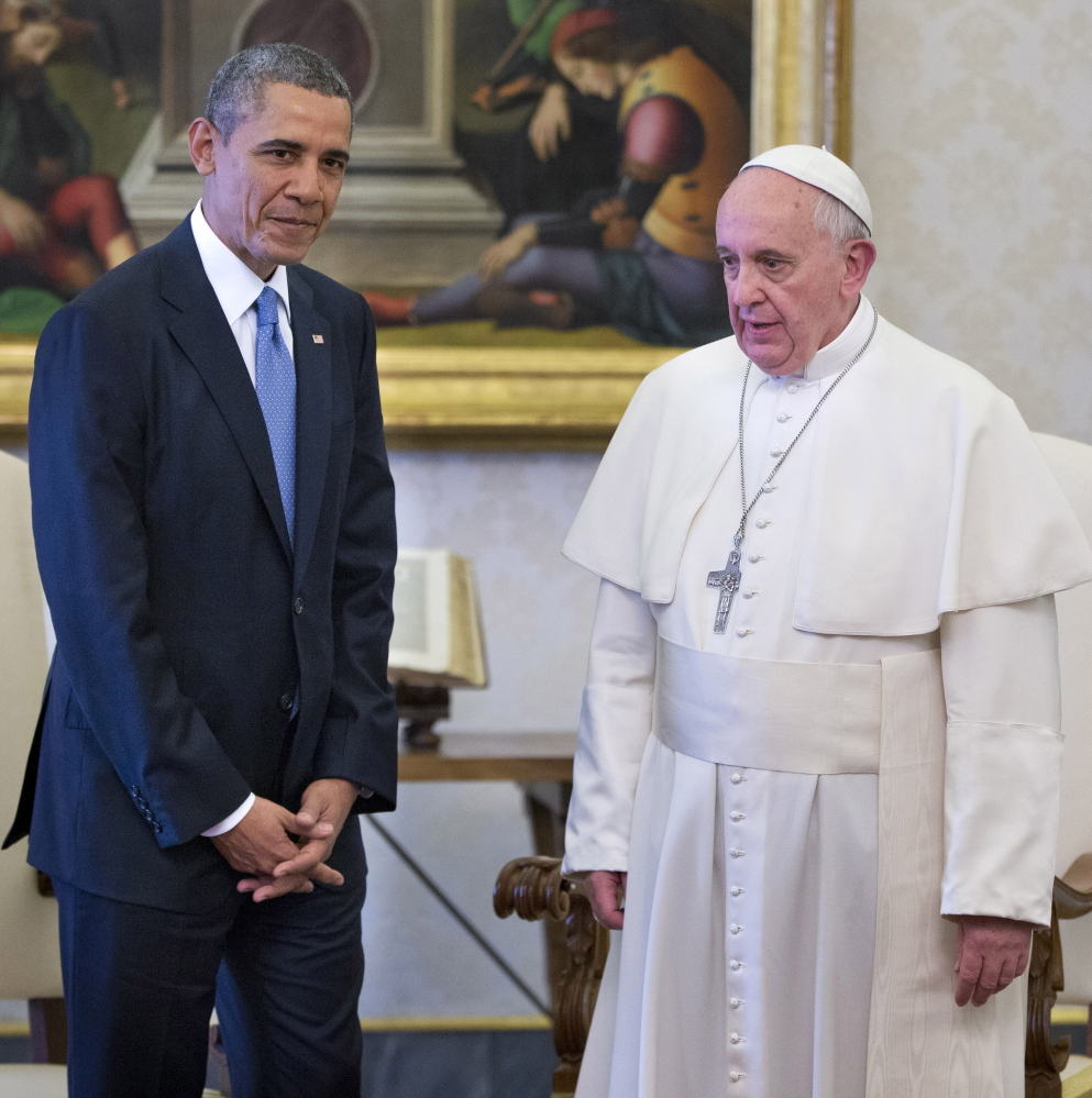 President Obama meets with Pope Francis at the Vatican in March 2014. When Francis arrives in the United States, he will get an airport welcome from the president.