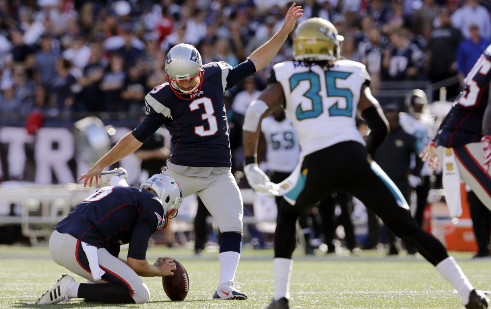 Stephen Gostkowski (3) has spent 10 seasons making kicks for the New England Patriots. On Sunday, he made three field goals and kicked six extra points to set the NFL record for consecutive extra points made.