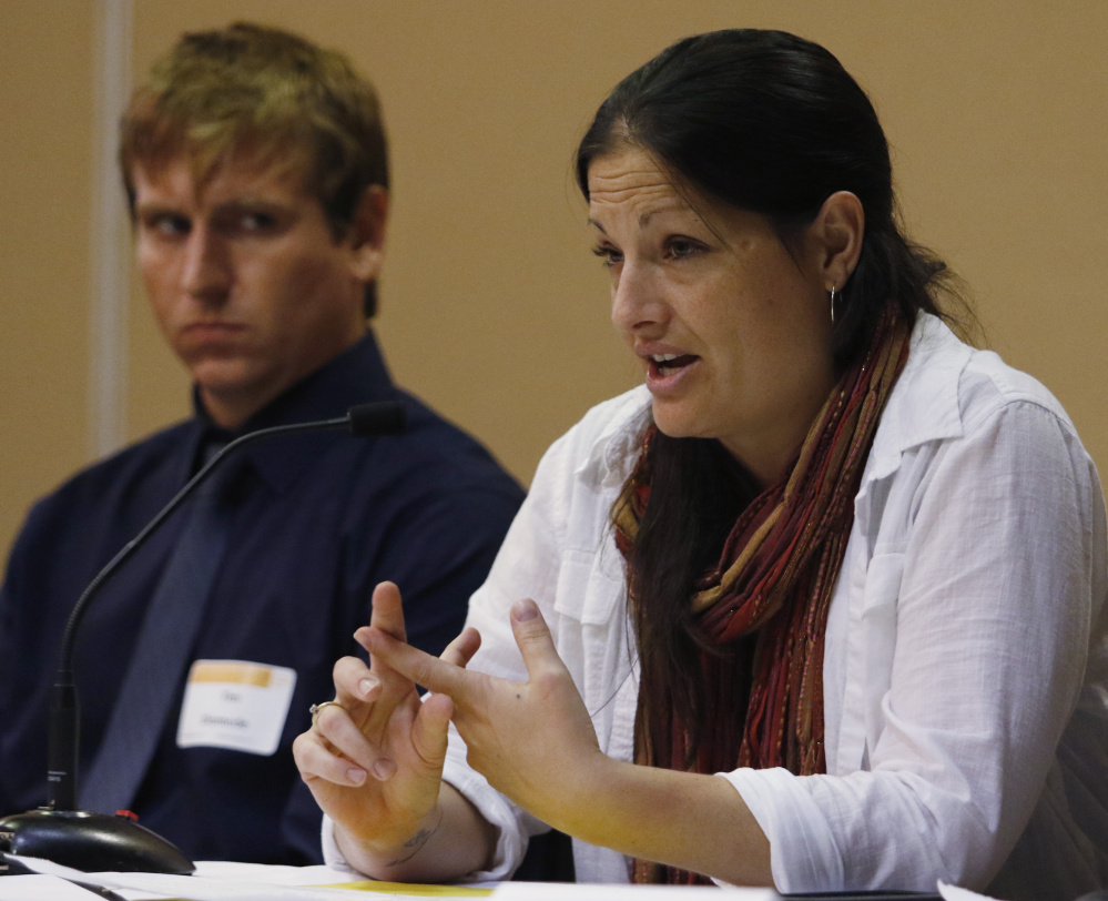 Danielle Rideout of Tri-County Mental Health Services, right, joined by Tim Diomede of the State Epidemiological Outcomes Workgroup, speaks Wednesday at a conference in Portland aimed at reducing the numbers of drug-affected babies.
