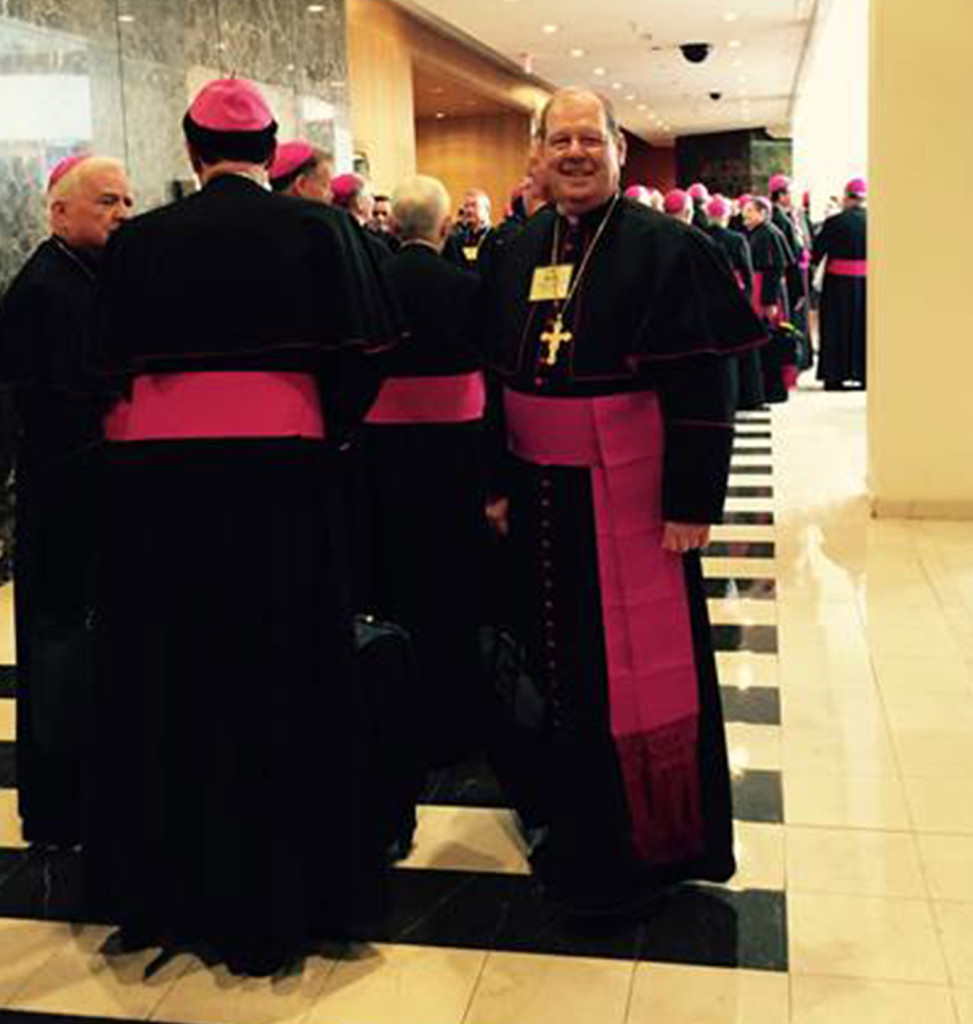 Bishop Robert P. Deeley of the Diocese of Portland stands with other bishops at St. Matthew's Cathedral in Washington, D.C., on Wednesday.