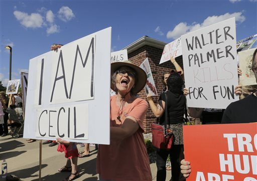 Protesters gather outside WalterPalmer's dental office July 27 in Bloomington, Minn. Palmer killed Cecil, a black-maned lion, just outside Hwange National Park in Zimbabwe. Palmer participated in an interview Sunday in which he disputed some accounts of the hunt, expressed agitation at the animosity directed at those close to him and said he would be back at work within days.