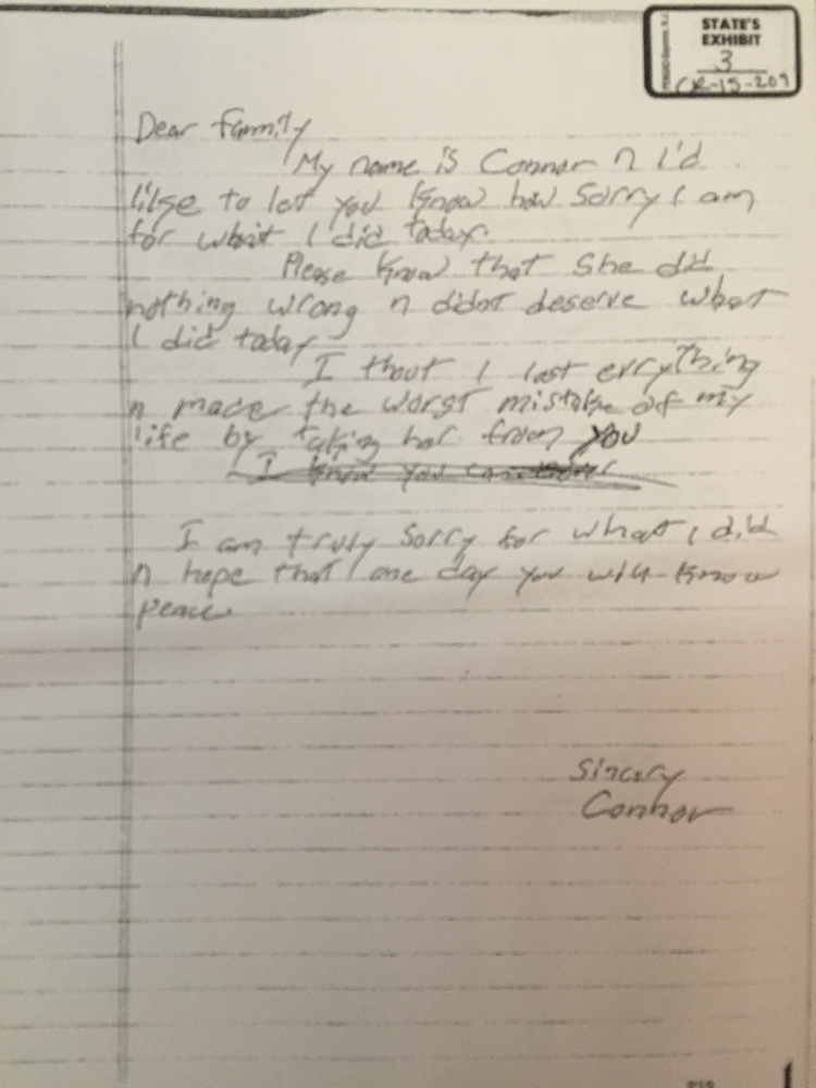 This is an apology letter written by Connor MacCalister to the family of Wendy Boudreau.
