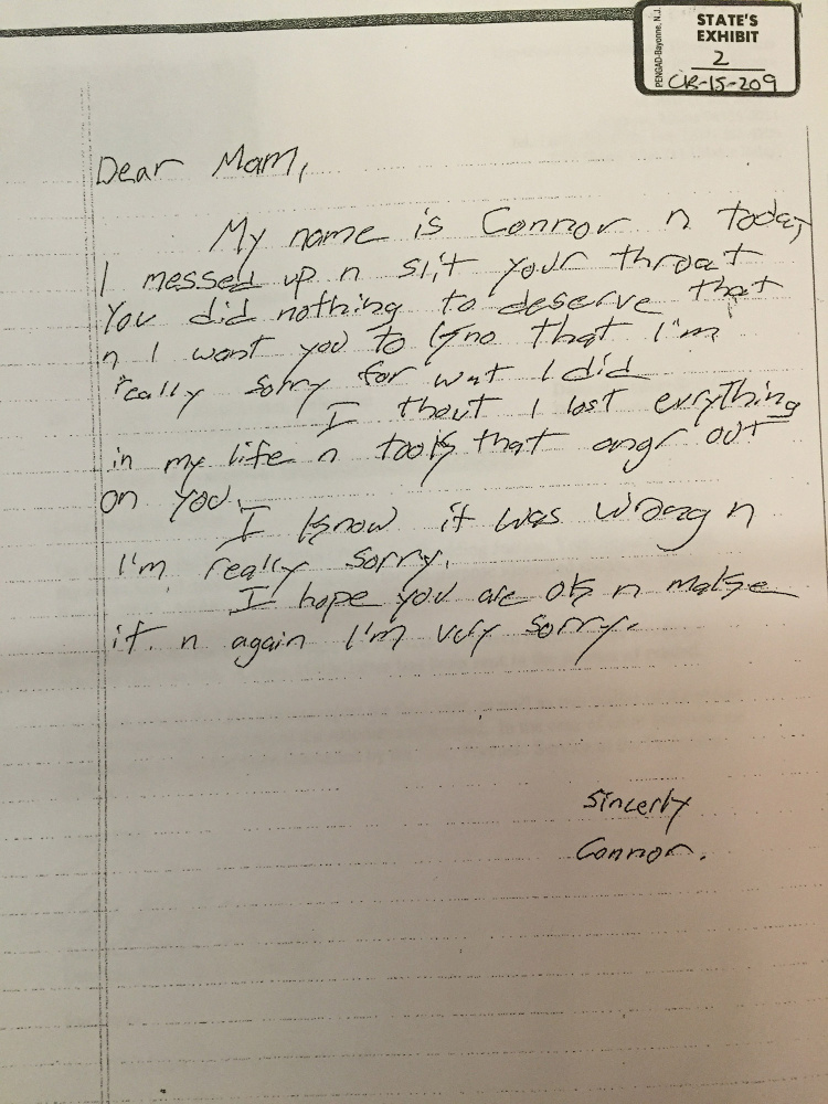This apology letter from Connor MacCalister apparently is addressed to victim Wendy Boudreau.