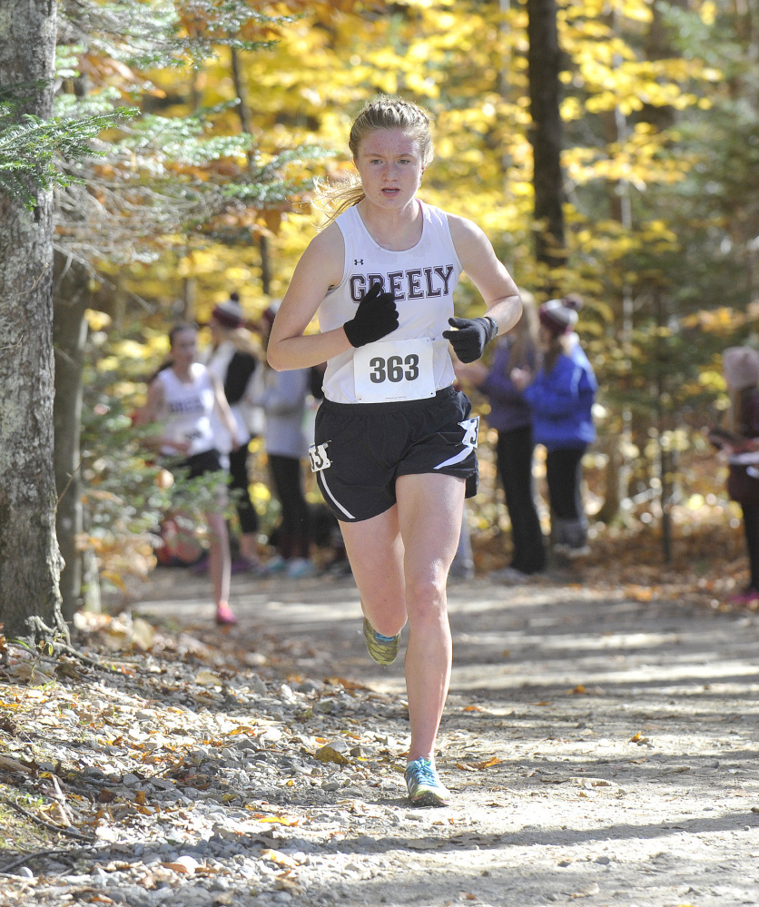 Katherine Leggat-Barr of Greely took the lead early, never gave it up and finished with the best girls' time of the day, regardless of class – 19 minutes, 11 seconds for 5 kilometers.