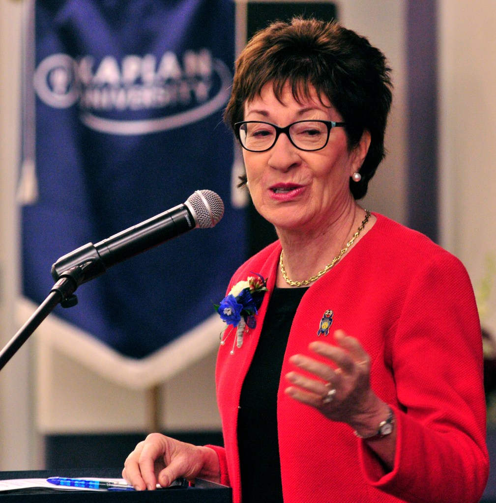 "U.S. Sen. Susan Collins tells an audience at Kaplan University in Augusta that she hopes Congress will take action after a gunman killed nine in Oregon last week. She said the Mental Health Reform Act would help families deal with violent family members before a tragedy occurs. ""It's intended to improve access to mental health services,"" she said. Joe Phelan/ Kennebec Journal"