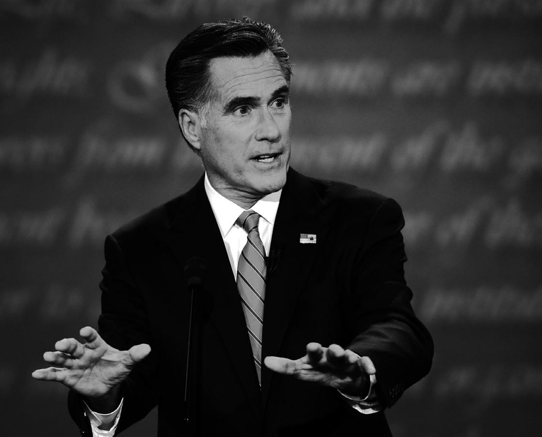 In this 2012 file photo, then-Republican presidential candidate Mitt Romney speaks during the first presidential debate with President Barack Obama at the University of Denver, in Denver.
