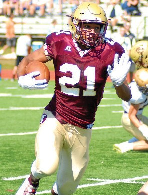 Thornton Academy running back Greg Ruff turns the corner on a long run during a game earlier this season. Ruff has been named as one of the Journal Tribune's Most Valuable Players for the 2015 season.