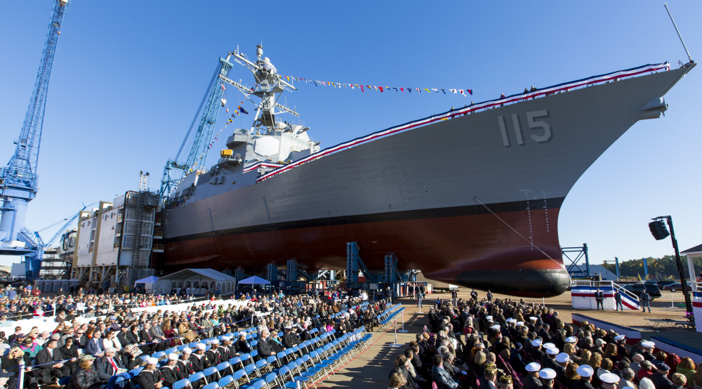 The USS Rafael Peralta, the 65th Arleigh Burke-class destroyer, is christened at Bath Iron Works in this October 2015 photo.  The Arleigh Burke class has been the backbone of the Navy for decades and the next one will carry the name of former Sen. Carl Levin of Michigan.