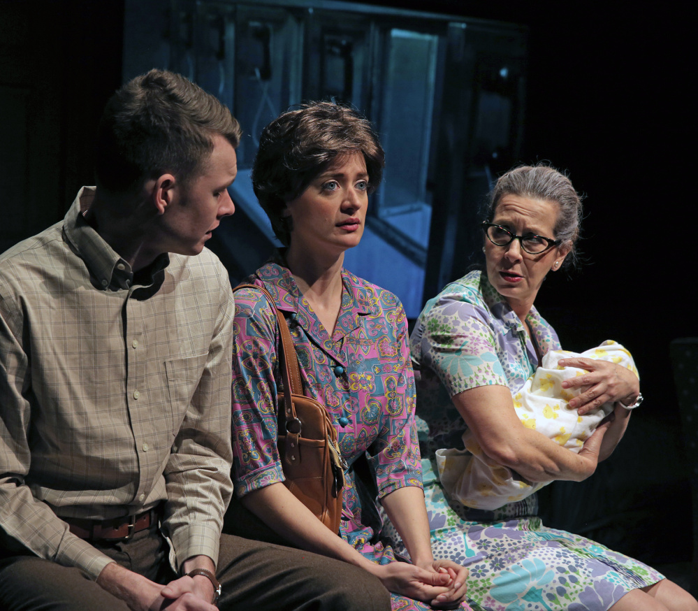 Above: Graham Emmons as Lee Harvey Oswald and Betsy Aidem as his mother, Marguerite. Left: Erik Moody as Lee's brother Robert; Laurel Casillo as Lee's wife, Marina; and Aidem.