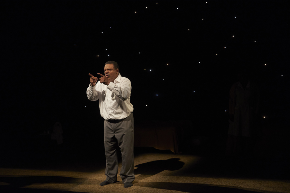 """Harvy Blanks portrays Dr. Martin Luther King, Jr. in Portland Stage's """"The Mountaintop."""" The show runs through Nov. 22."""