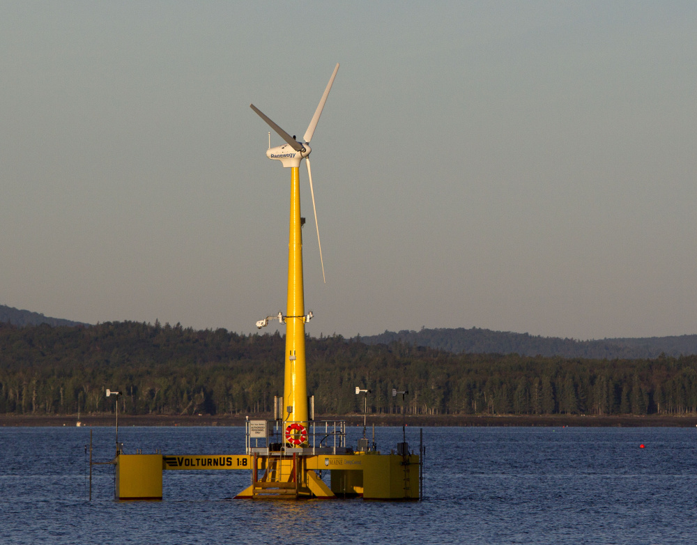 The prototype Volturn US generates power off Castine in 2013. The prototype is a one-eighth-scale model of the floating turbines to be used in a full-scale 12-megawatt wind farm planned for deep water off Monhegan Island.