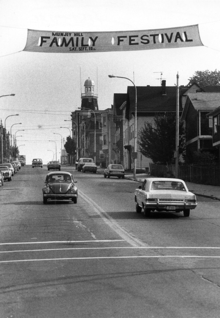 The view of Munjoy Hill looking up Congress Street toward the Portland Observatory, September, 1983.