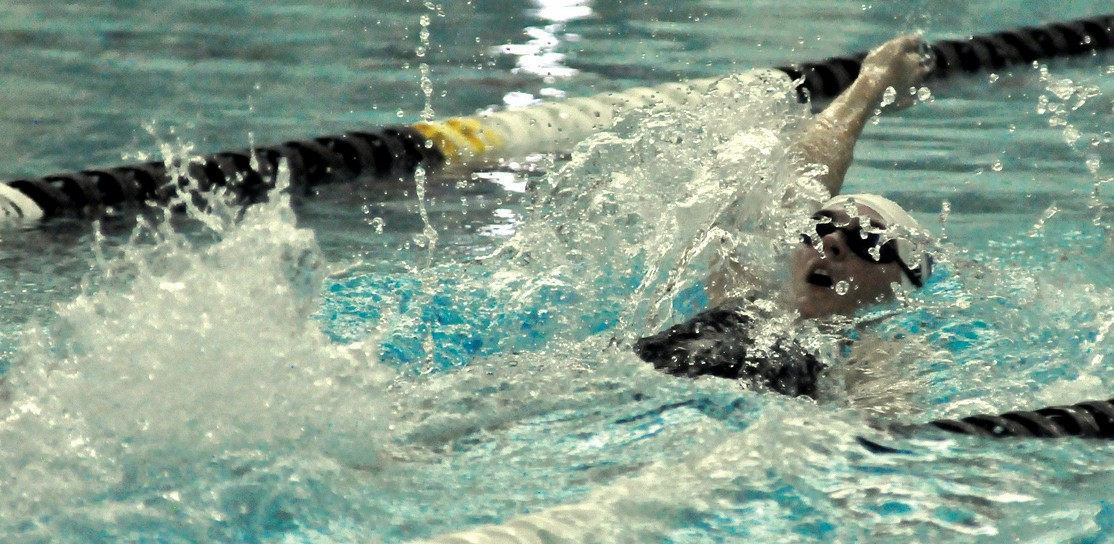 Kennebunk's Marshall Lowery competes in last year's state championships. Lowery is back in the pool for the Rams this season.