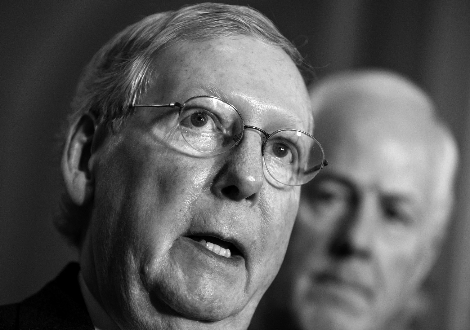 Senate Majority Leader Mitch McConnell of Ky., joined by Senate Majority Whip John Cornyn of Texas, tells reporters that he's confident he will have enough support on an effort to repeal the Affordable Care Act this week during a news conference following a GOP policy meeting on Capitol Hill in Washington.