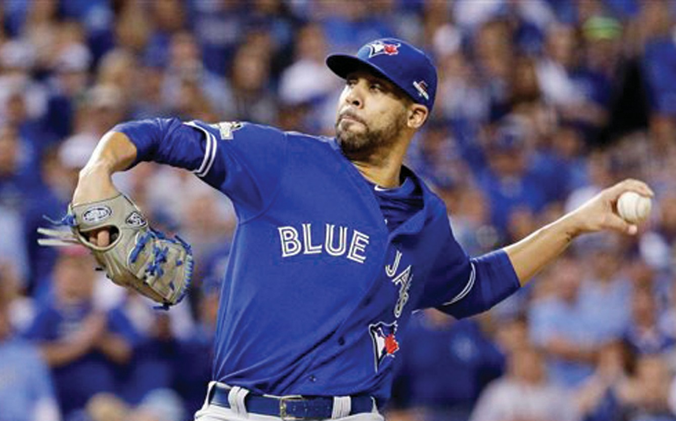Toronto Blue Jays starting pitcher David Price throws against the Kansas City Royals during the first inning in Game 6 of baseball's American League Championship Series in Kansas City, Mo.