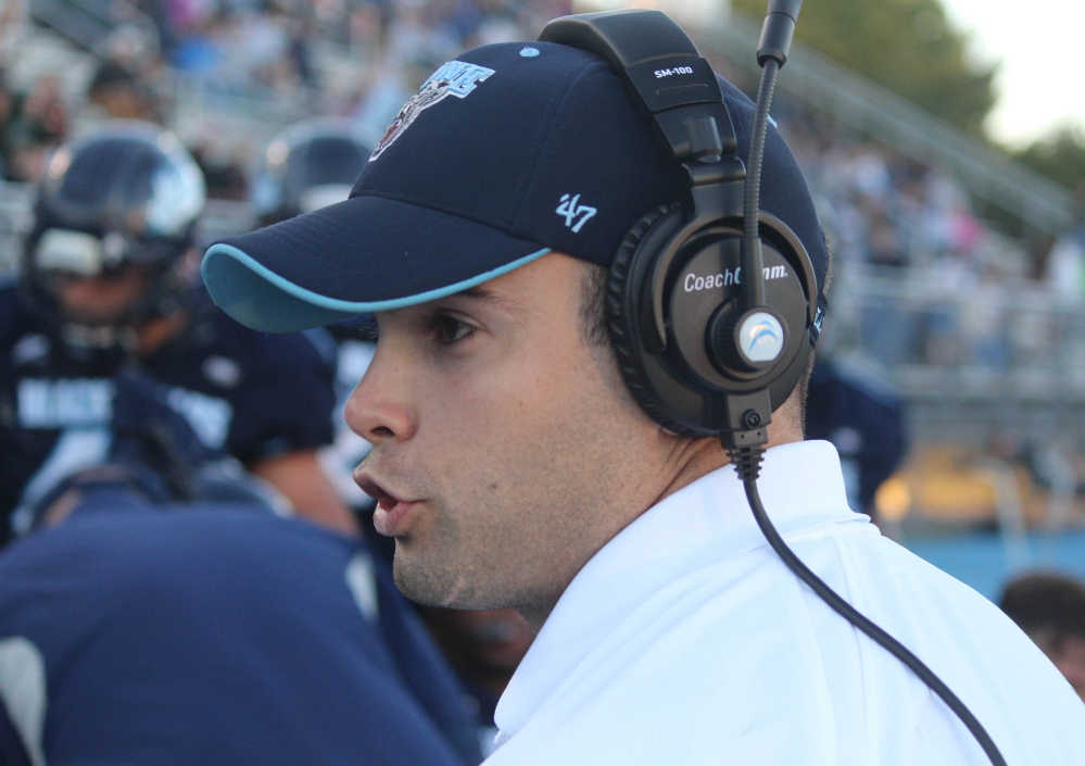 UMaine hired Joe Harasymiak, 29, in 2011 to coach defensive backs, before promoting him to defensive coordinator, and now, head coach.