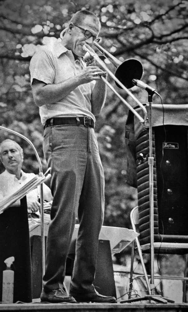 Don Doane performs in a Portland park in 1975. In addition to his work as a professional musician, Doane taught music to hundreds of students in the Scarborough and Westbrook school systems.
