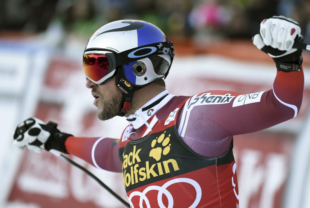 Norway's Aksel Lund Svindal celebrates in the finish area after winning the men's World Cup downhill race Saturday in Val Gardena, Italy.