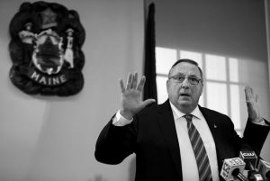 GOV. PAUL LEPAGE speaks at a news conference at the State House in Augusta in this Jan. 8 file photo. LePage told reporters Wednesday that Mainers are allowed to carry concealed handguns.