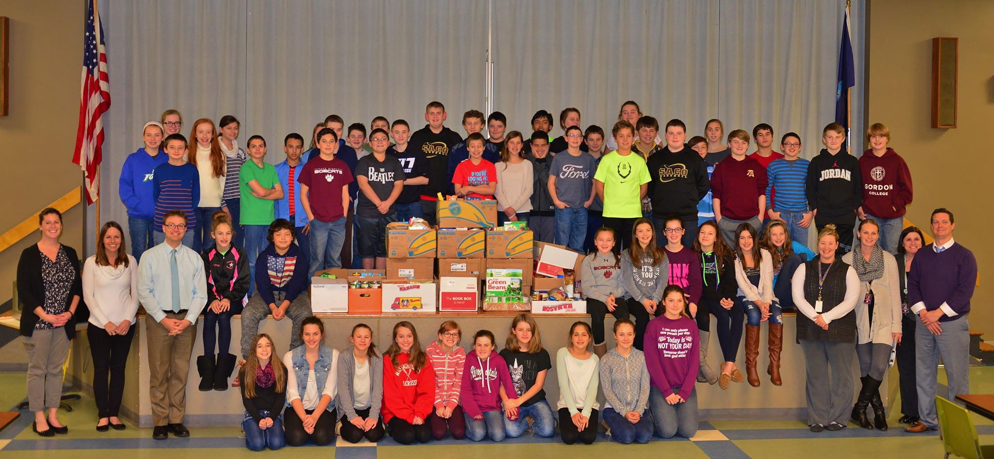 This fall, Saco Middle School collected over 700 donations for the Saco Food Pantry. State Rep. Justin Chenette of Saco, who works for the Journal Tribune as a digital advertising executive, visited the school to congratulate the seventh-grade Ravens team, which brought in the most food items.