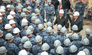 CHIEF OF NAVAL OPERATIONS Adm. John Richardson at Bath Iron Works, during a visit Wednesday in which he spoke with the crews of the USS Zumwalt and USS Rafael Peralta, as well as shipyard workers and supervisors.