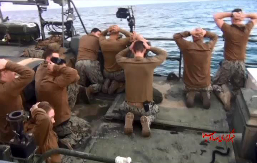 American Navy sailors are detained by Iranian Revolutionary Guards in the Persian Gulf in a January 2016 photo released by the Iranian state-run IRIB News Agency.