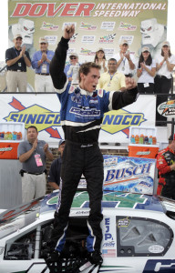 Sean Caisse celebrates his victory in the NASCAR Busch East auto race at Dover International Speedway in Dover, Del., in September 2007. Photogenic and well-spoken, Caisse was a natural in the racing world, his mother said.