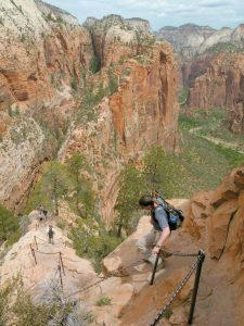 HIKERS climb down the Angels Landing trail in Zion National Park, in Utah, in this May 8, 2011, photo. Crowds are flocking in record numbers to Zion National Park this year, with visitation up 28 percent in the first quarter of 2015.