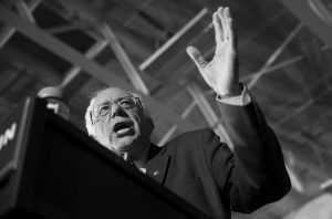 DEMOCRATIC PRESIDENTIAL CANDIDATE Sen. Bernie Sanders, I-Vt., speaks during a campaign rally at Grand View University on Sunday in Des Moines, Iowa.