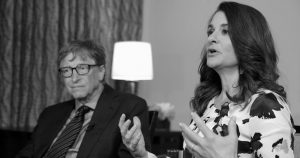 BILL AND MELINDA GATES talk to reporters about the 2016 annual letter from their foundation, the Bill and Melinda Gates Foundation, in New York, Monday.