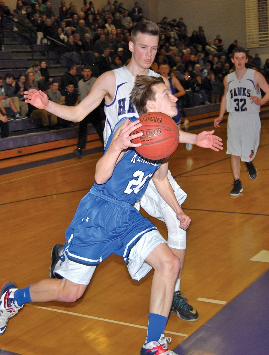 Kennebunk guard Dakota Ewy drives to the basket during Tuesday night's Class A South playoff game at Marshwood. The Rams made the playoffs for the first time in nine years, but would fall to the host Hawks.