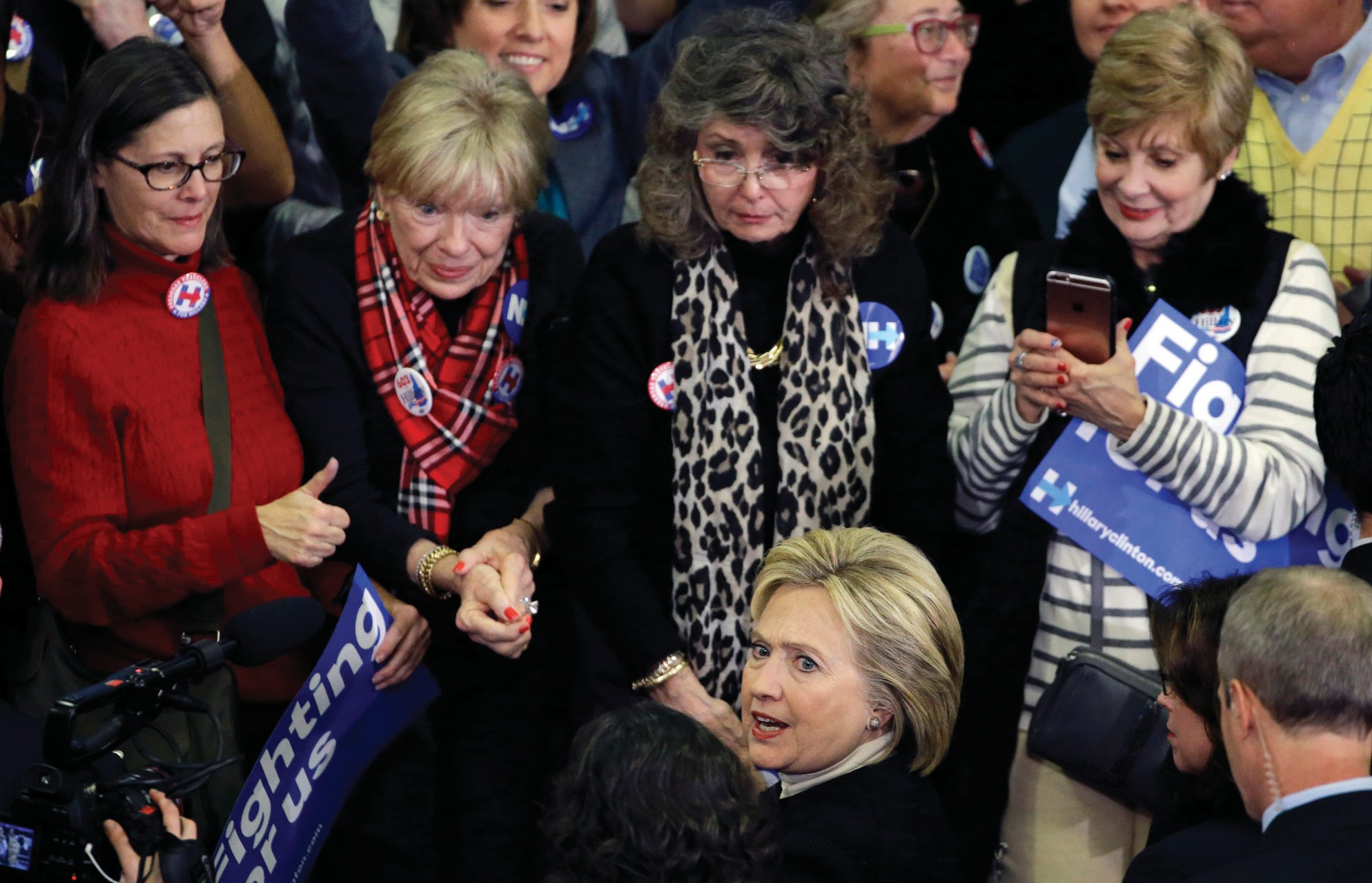 On Tuesday, Democratic presidential candidate Hillary Clinton mingles with supporters at her New Hampshire presidential primary campaign rally in Hooksett, N.H.