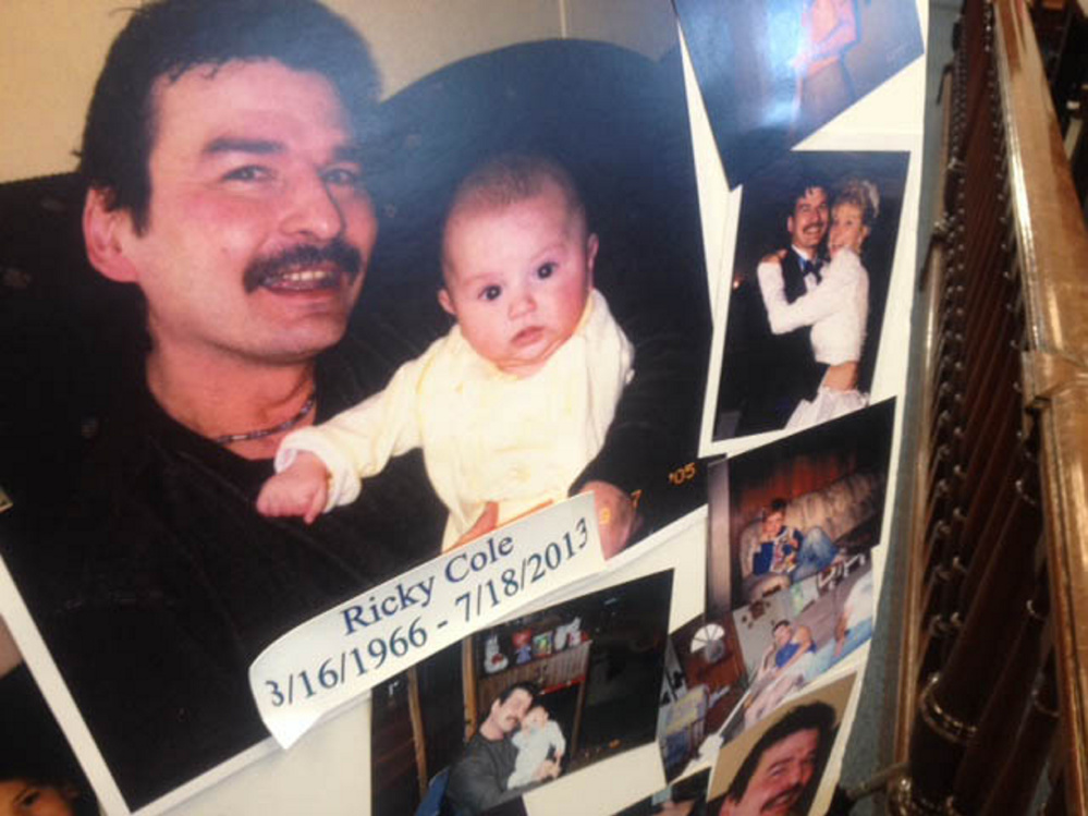 A tribute to murder victim Ricky Cole is displayed Friday in Somerset County Superior Court while Jason Cote, convicted of Cole's murder, is sentenced.