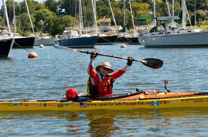 Deb Walters of Troy finished her two-part kayak trip from Maine to Key West, Fla., on Jan. 30, and raised $425,000 for Safe Passage along the way. Contributed photo