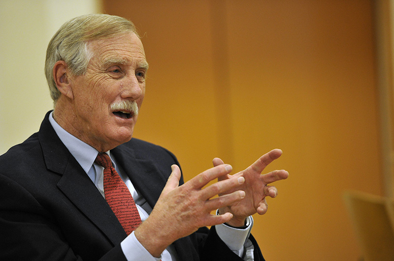 Sen. Angus King, seen in March, is among seven members of the Senate Intelligence Committee who are asking the Obama administration to declassify details of alleged Russian involvement in November's elections.