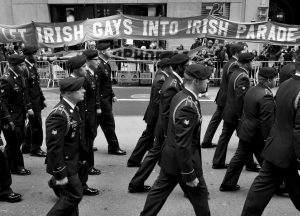 MARCHERS WALK PAST A GROUP OF PROTESTERS seeking the inclusion of LGBT groups during the St. Patrick's Day Parade in New York in 2015. New York's St. Patrick's Day Parade steps off today with hopes of closing a long chapter of controversy over gay inclusion in the largest and oldest U.S. celebration of Irish heritage.