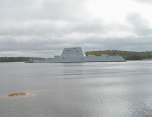 USS ZUMWALT (DDG-1000), the new guided missile destroyer, turns into Fiddler's Reach on its way back to Bath Iron Works after completing sea trials in this photo taken March 24 by Paul Kalkstein.
