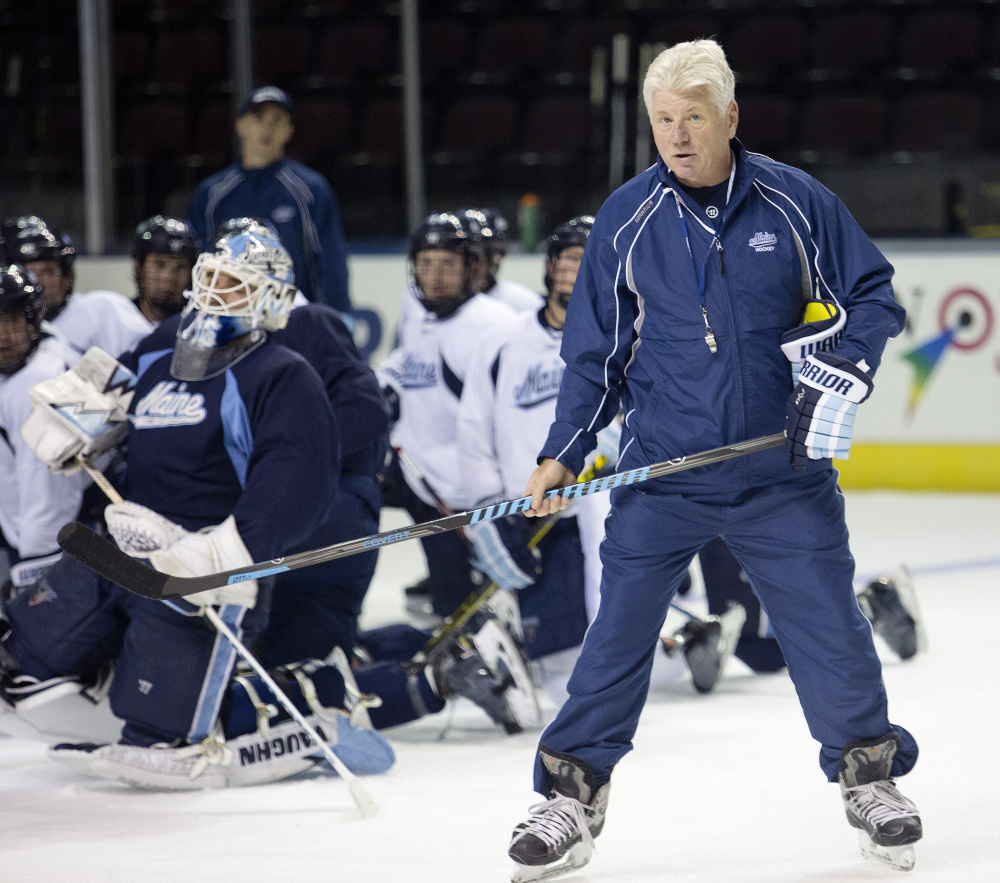 Red Gendron has coached the Black Bears hockey team since 2013; a contract extension keeps him in the job through 2019.