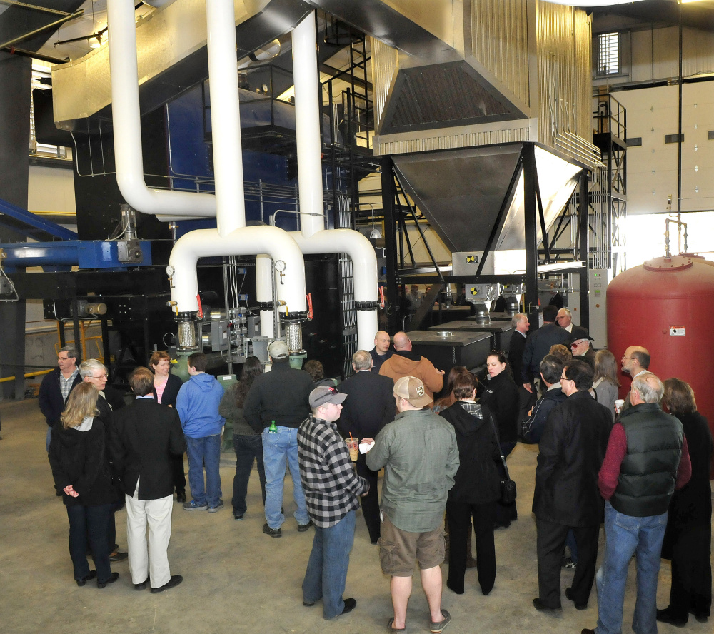 University of Maine Farmington supporters and officials take a tour of the new UMF Central Heating Plant on Sunday.
