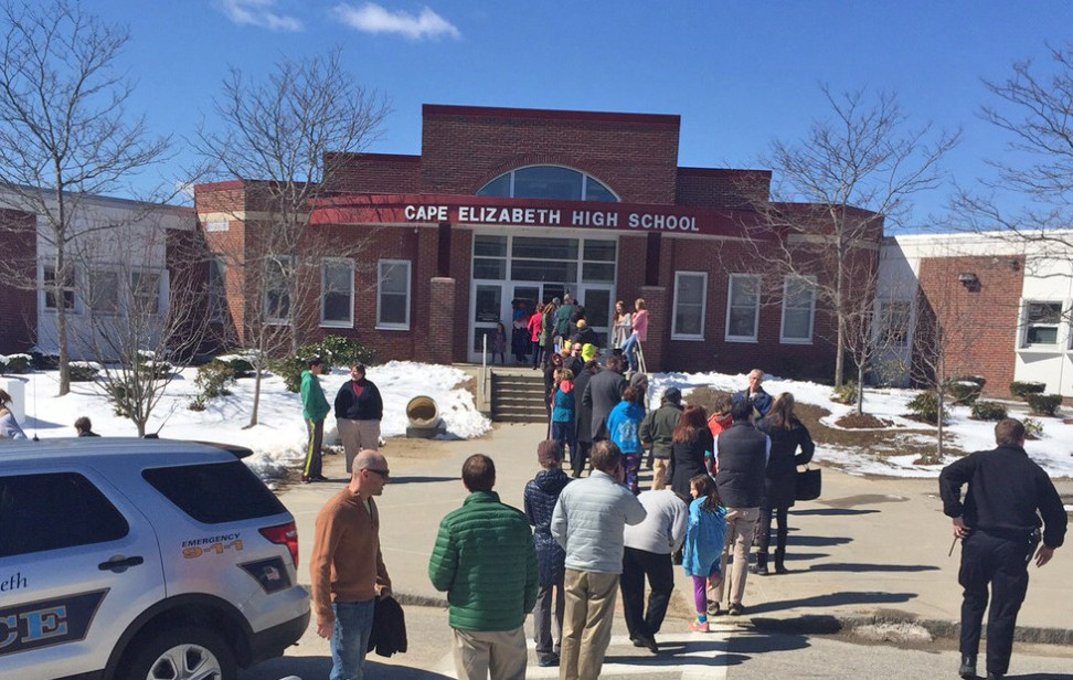 Students at Cape Elizabeth middle and elementary schools were evacuated to the high school at about 10:40 a.m., according to the school department. Photo by Matt Byrne/Staff Writer