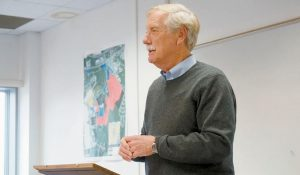 U.S. SEN. ANGUS KING shares his thoughts on HUBZones during a small business seminar on Friday morning at the Brunswick Landing.