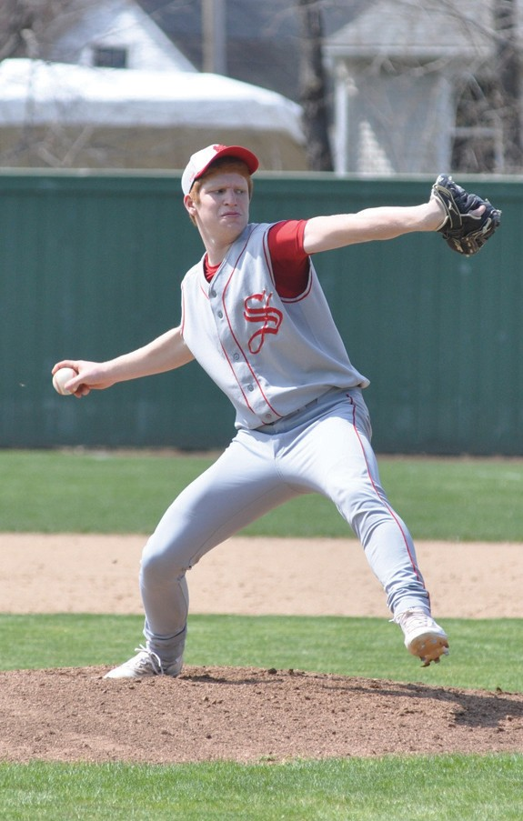 Sanford's Brad Bouchard delivers a pitch in the fifth inning Monday.