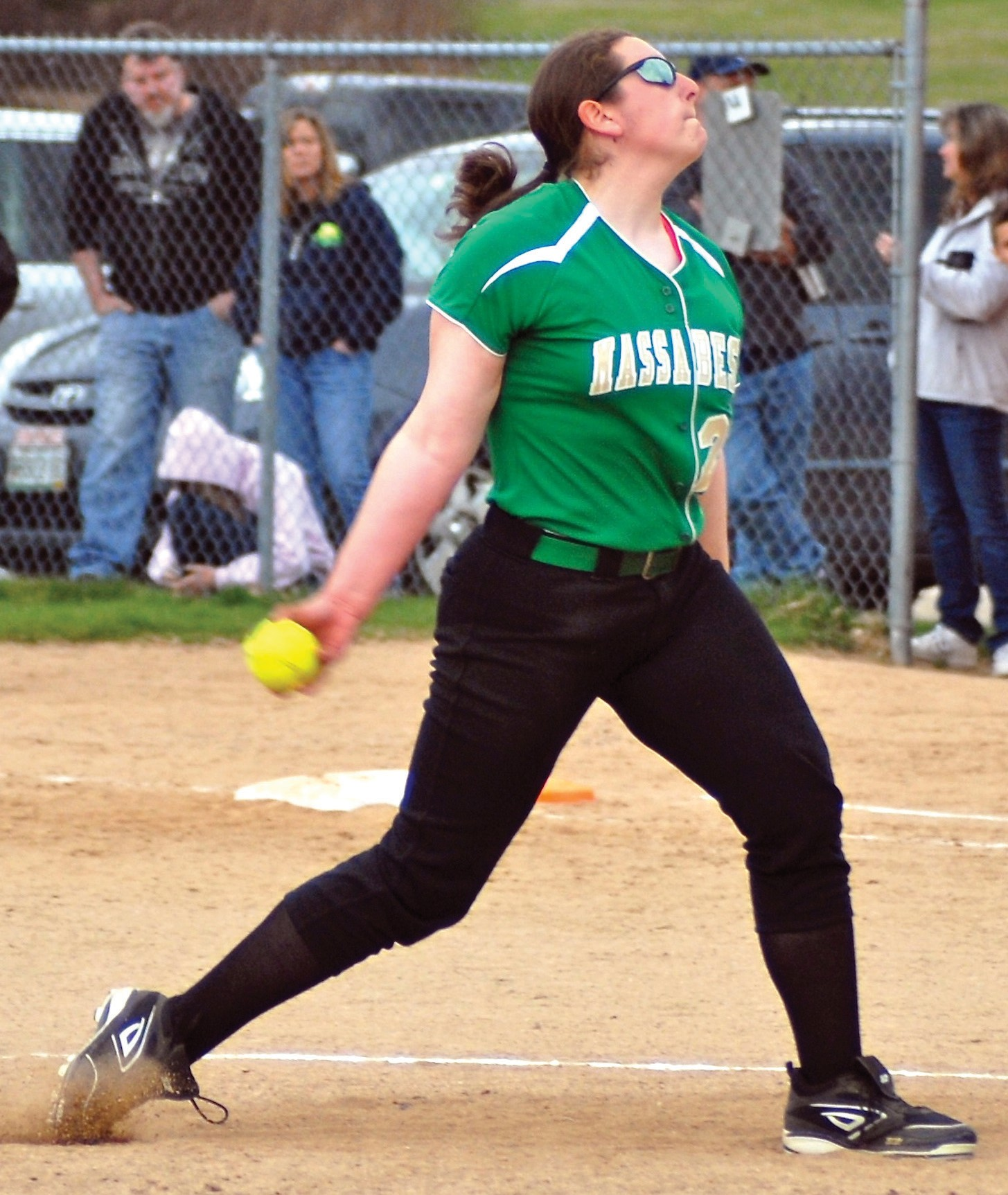 Massabesic's Sarah Guimond fires a pitch during Friday's game at Biddeford.