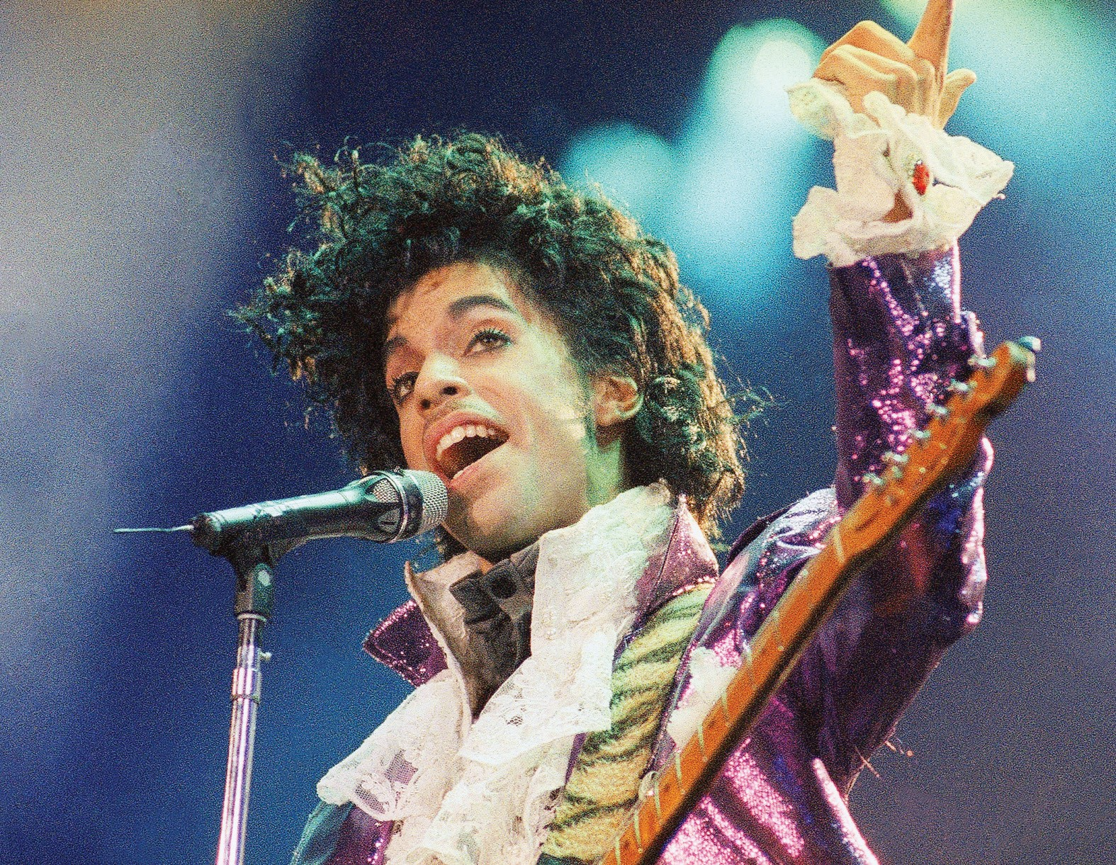 In this Feb. 18, 1985 file photo, Prince performs at the Forum in Inglewood, Calif.